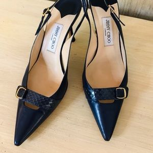 JIMMY CHOO Navy Slingback Pumps w/Snakeskin Accent